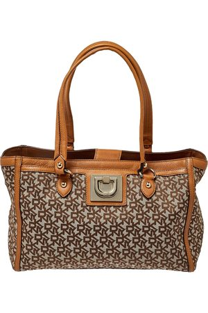 DKNY /Tan Signature Canvas and Leather Tote