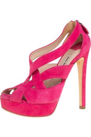 Miu Miu Suede Strappy Platform Sandals Size 37.5