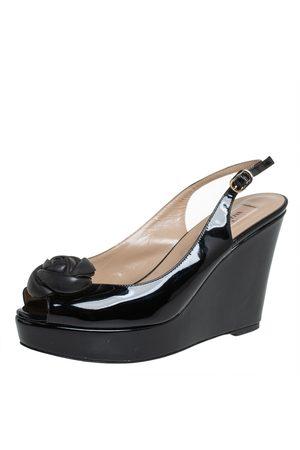 VALENTINO Patent Leather Rose Embellished Wedge Platform Slingback Sandals Size 38.5