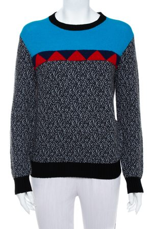 Prada Color Block Wool & Cashmere Crewneck Sweater S