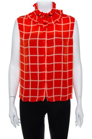 Kenzo Checkered Silk Ruffled Neck Button Front Sleeveless Shirt L