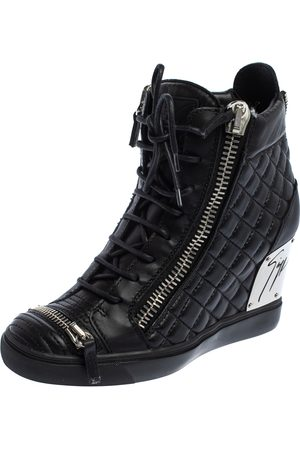 Giuseppe Zanotti Quilted Leather Lorenz Wedge Sneakers Size 41