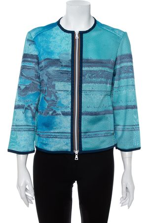 Prada Abstract Print Perforated Zip Front Jacket L