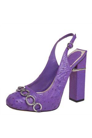 Dior Ostrich Leather Chain Link Platform Slingback Sandals Size 37