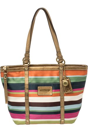 Coach Satin and Leather Striped Legacy Tote
