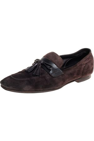 Tom Ford Dark Suede And Leather Tassel Loafers Size 43.5