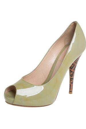 Fendi Patent Leather Zucca Print Heel Peep Toe Pumps Size 38