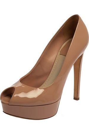 Dior Christian Patent Leather Peep Toe Platform Pumps Size 38