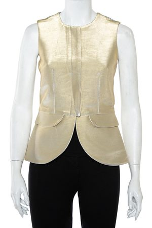 Emporio Armani Metallic Cotton Sleeveless Gilet S