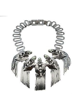 MAWI Gunmetal Tone Flapper Fringe Choker Necklace
