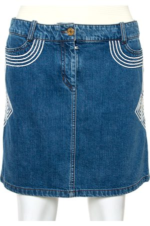 Céline Denim Embroidered Mini Skirt S