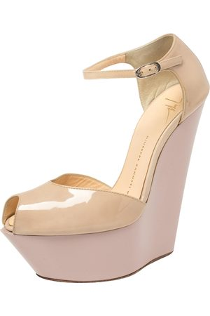 Giuseppe Zanotti Giuseppe Zanoti Patent Leather Peep Toe Platform Wedge Ankle Strap Sandals Size 37