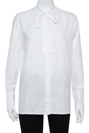 VALENTINO Cotton Neck Tie Detail Lace Front Shirt M