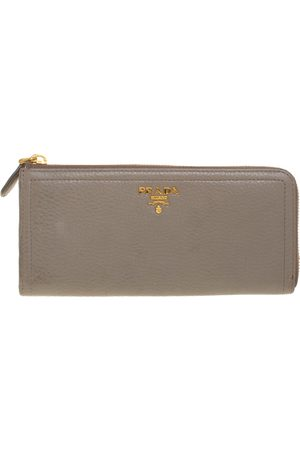 Prada Taupe Leather Zip Around Wallet