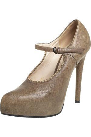 Bottega Veneta Leather Mary Jane Platform Pumps Size 36