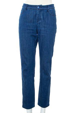 CHANEL Navy Striped Denim Tapered Leg Jeans M