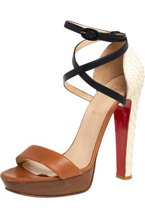 Christian Louboutin /White Python And Leather Platform Ankle Strap Sandals Size 41