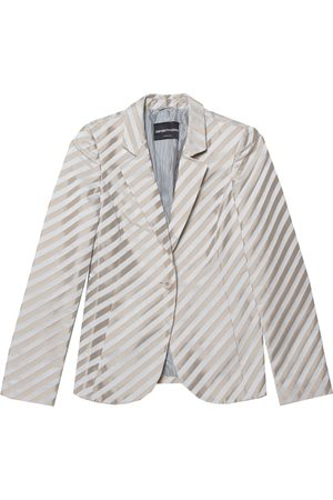 Emporio Armani & Gold Striped Satin Button Front Blazer S