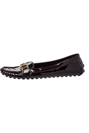 LOUIS VUITTON Burgundy Patent Leather Oxford Slip On Loafers Size 38.5