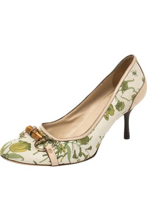 Gucci Canvas And Leather Floral Print Bamboo Horsebit Pumps Size 41