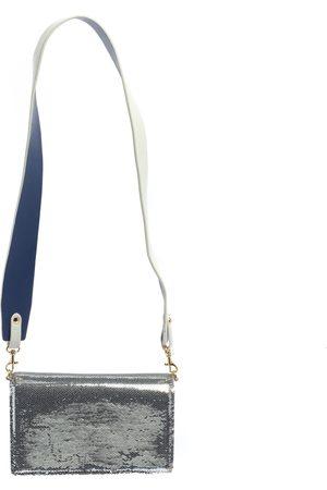 Diane von Furstenberg White/ Leather and Sequin Soiree Shoulder Bag