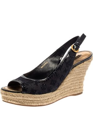 LOUIS VUITTON Women Wedges - Denim Monogram and Patent Leather Espadrille Wedge Slingback Sandals Size 39.5
