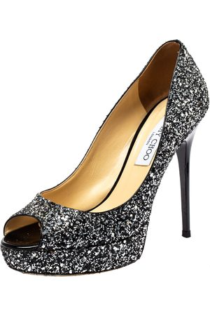Jimmy Choo /Black Coarse Glitter Crown Peep Toe Platform Pumps Size 38