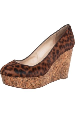 Christian Louboutin Leopard Print Pony Hair Coroclic Cork Wedge Platform Pumps Size 38