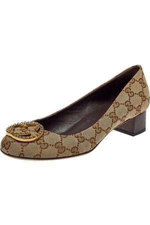 Gucci GG Canvas Interlocking GG Block Heel Pumps Size 36.5