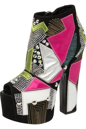 Giuseppe Zanotti Suede And Leather Geometric Platform Ankle Booties Size 39