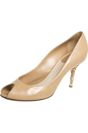 Dior Patent Leather Peep Toe Cannage Heel Pumps Size 36.5