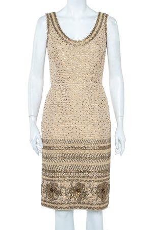 Oscar de la Renta Tweed Sequin Embellished Sleeveless Sheath Dress S