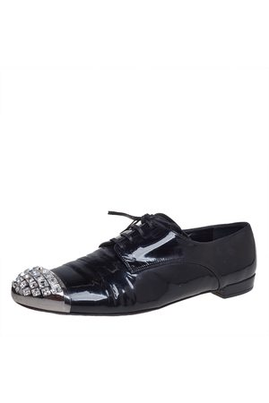 Miu Miu Patent Leather Crystal Embellished Cap Toe Oxfords Size 40