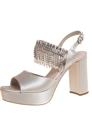 Miu Miu Grey Satin Dangling Crystals Embellished Platform Sandals Size 37