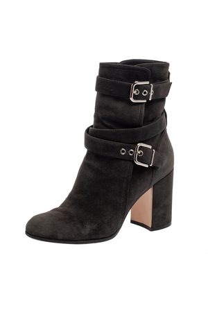 Gianvito Rossi Dark Grey Suede Buckle Detail Ankle Boots Szie 36.5
