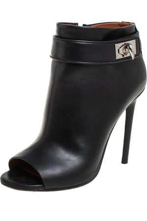Givenchy Leather Shark Lock High Heel Ankle Boots Size 36.5
