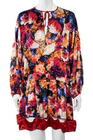 Roberto Cavalli Silk Satin Cutout Hem Detail Oversized Mini Dress M