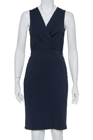 Gucci Navy Cotton Faux Wrap Detail Sleeveless Sheath Dress S