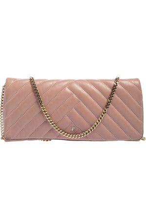 CH Carolina Herrera Carolina Herrera Old Rose Leather Flap Chain Clutch