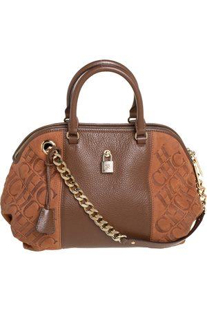 CH Carolina Herrera Carolina Herrera Monogram Suede and Leather Dome Satchel