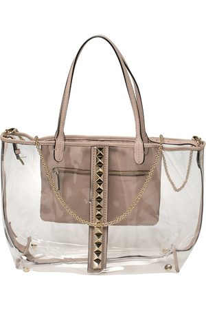 VALENTINO Transparent/ PVC and Leather Rockstud Naked Tote