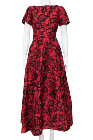 Carolina Herrera CH & Black Floral Crinkled Brocade Flared Maxi Dress L
