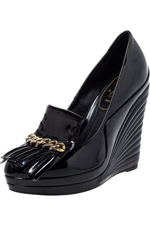 Saint Laurent Saint Laurent Paris Patent Leather Myranda Fringe Detail Wedge Pumps Size 38.5