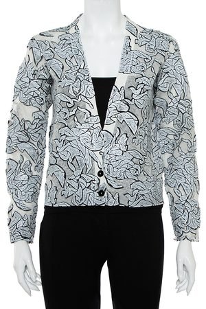 Balenciaga Monochrome Textured Knit Button Front Cropped Cardigan S