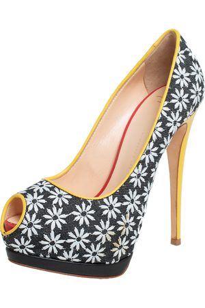 Giuseppe Zanotti Floral Print Fabric And Leather Platform Pumps Size 38
