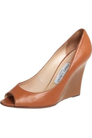 Jimmy Choo Tan Leather Wedge Peep Toe Pumps Size 37