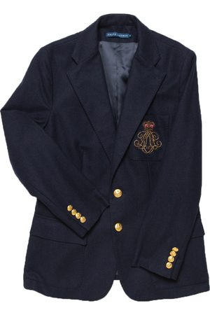Ralph Lauren Navy Embroidered Pocket Detail Two Button Wool Blazer L