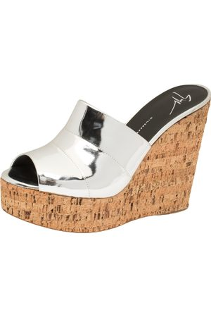 Giuseppe Zanotti Metallic Leather Roz Cork Wedge Platform Slide Sandals Size 40