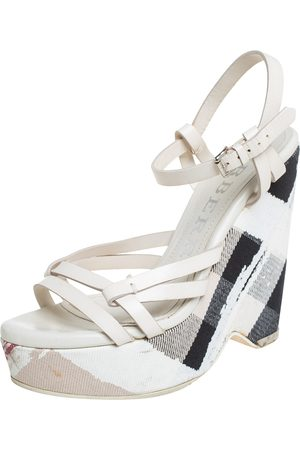 Burberry Leather And Canvas Strappy Wedge Platform Ankle Strap Sandals Size 38