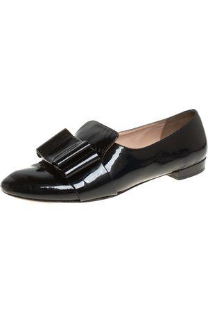 Miu Miu Patent Leather Bow Smoking Slippers Size 36.5